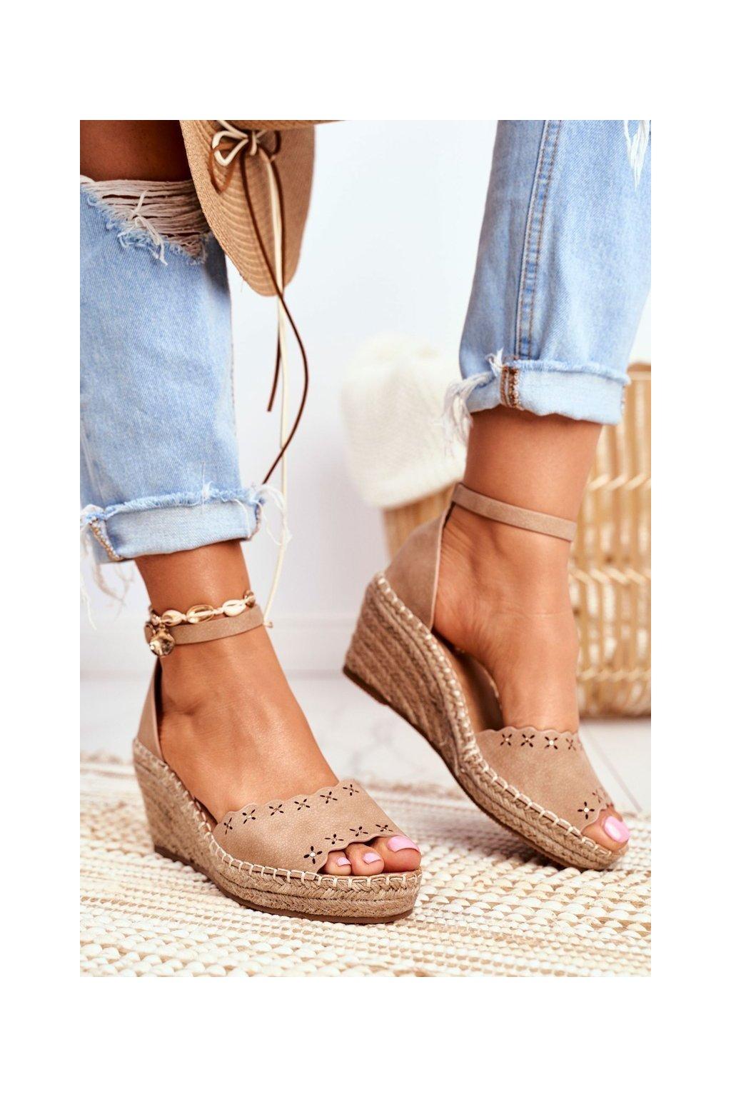 Hnedé sandále NJSK 9SD98-0953 BEIGE