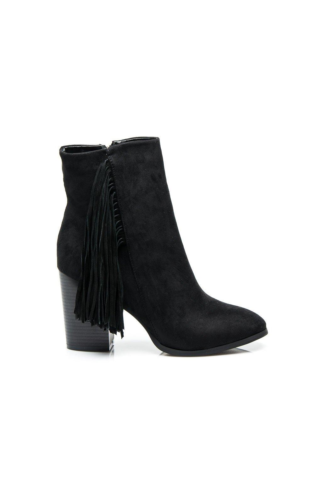 Čierne topánky v štýle BOHO ES-2381B / D3-L45 veľ.č. 36, 40 (Veľkosť UK7 / EUR 40)