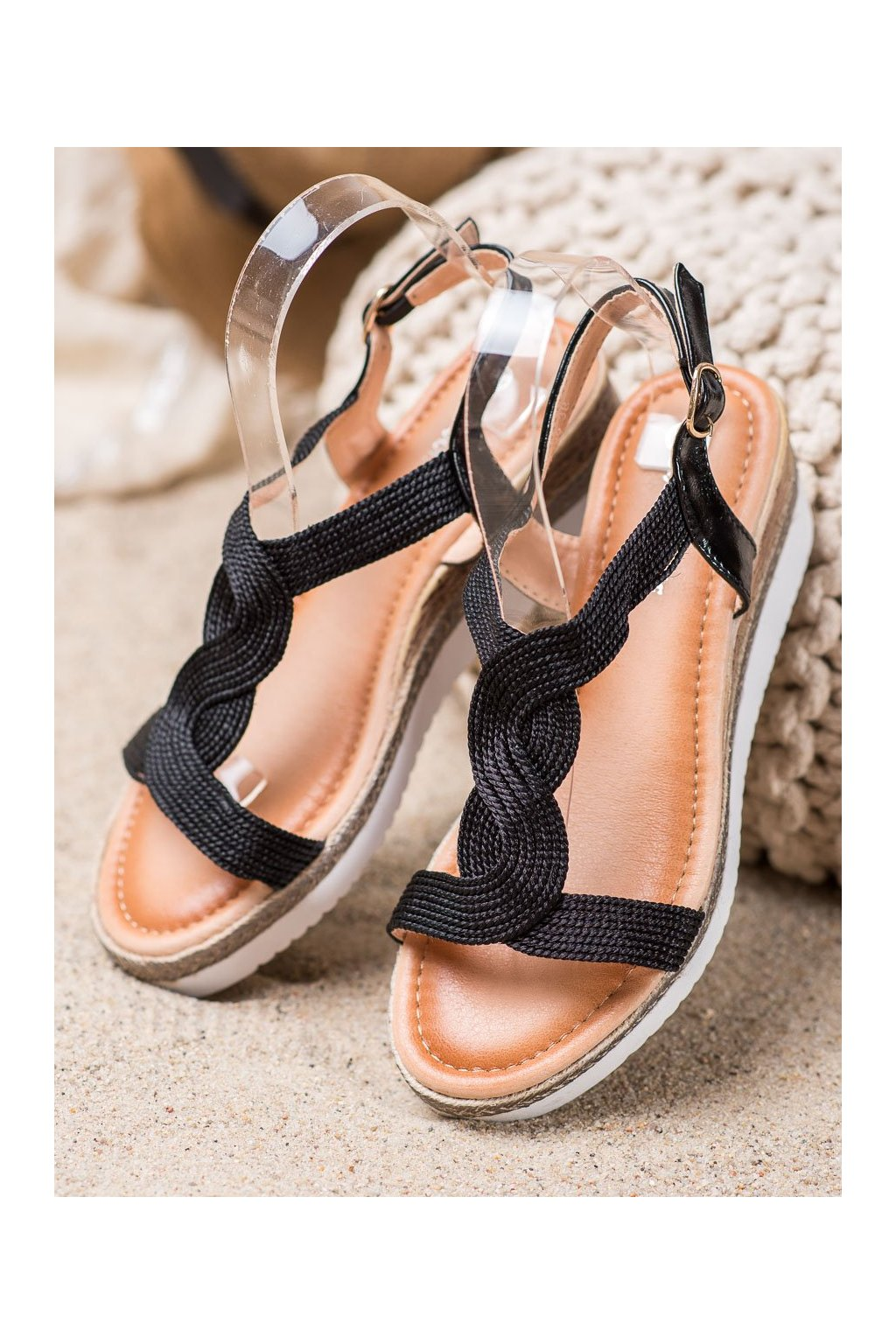 Čierne sandále NJSK L6629B