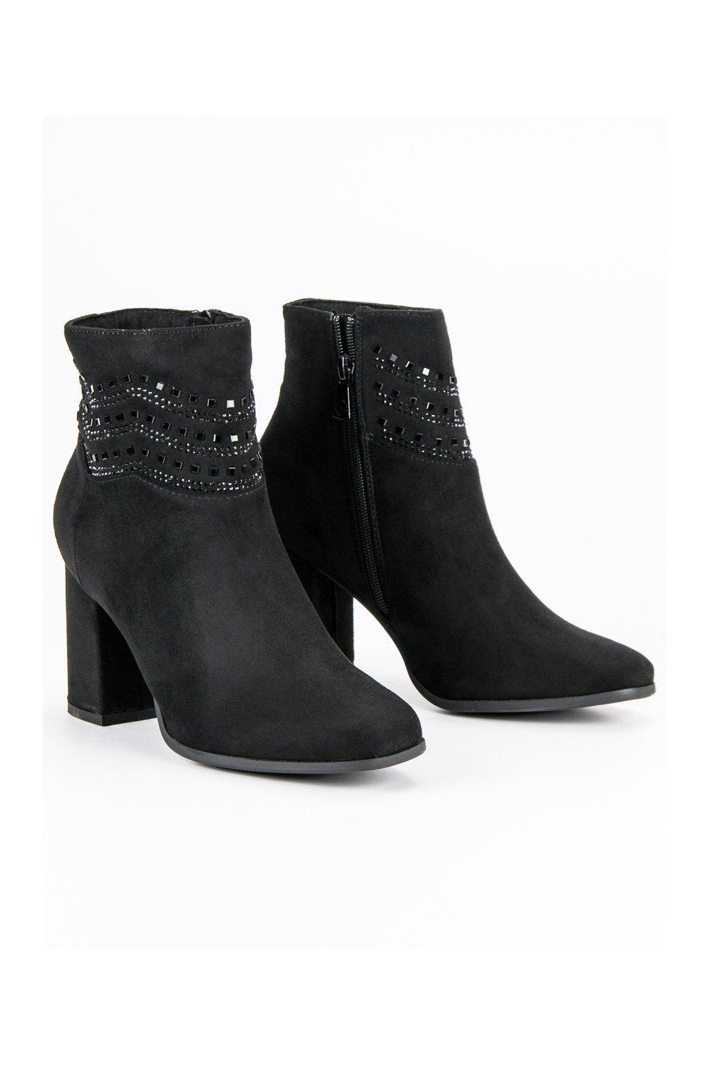 Semišové čierne topánky zdobené Kylie