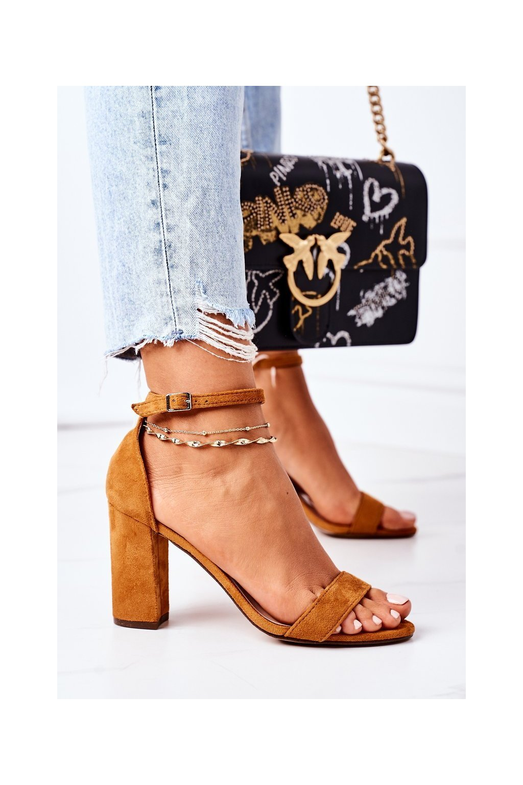 Dámske sandále farba hnedá NJSK CD59 CAMEL