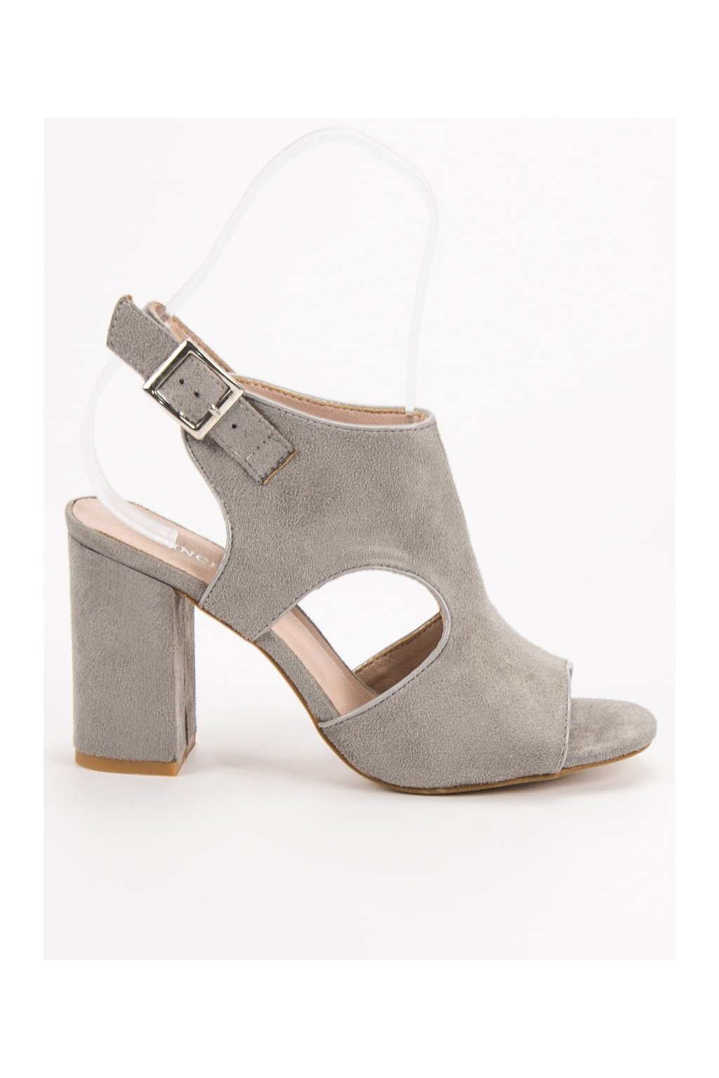 Sivé dámske sandále na na stĺpiku Vinceza YQE19-17004G