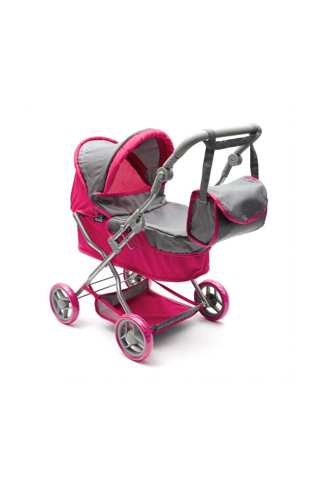 Hlboký kočík pre bábiky PlayTo Viola ružovo šedý