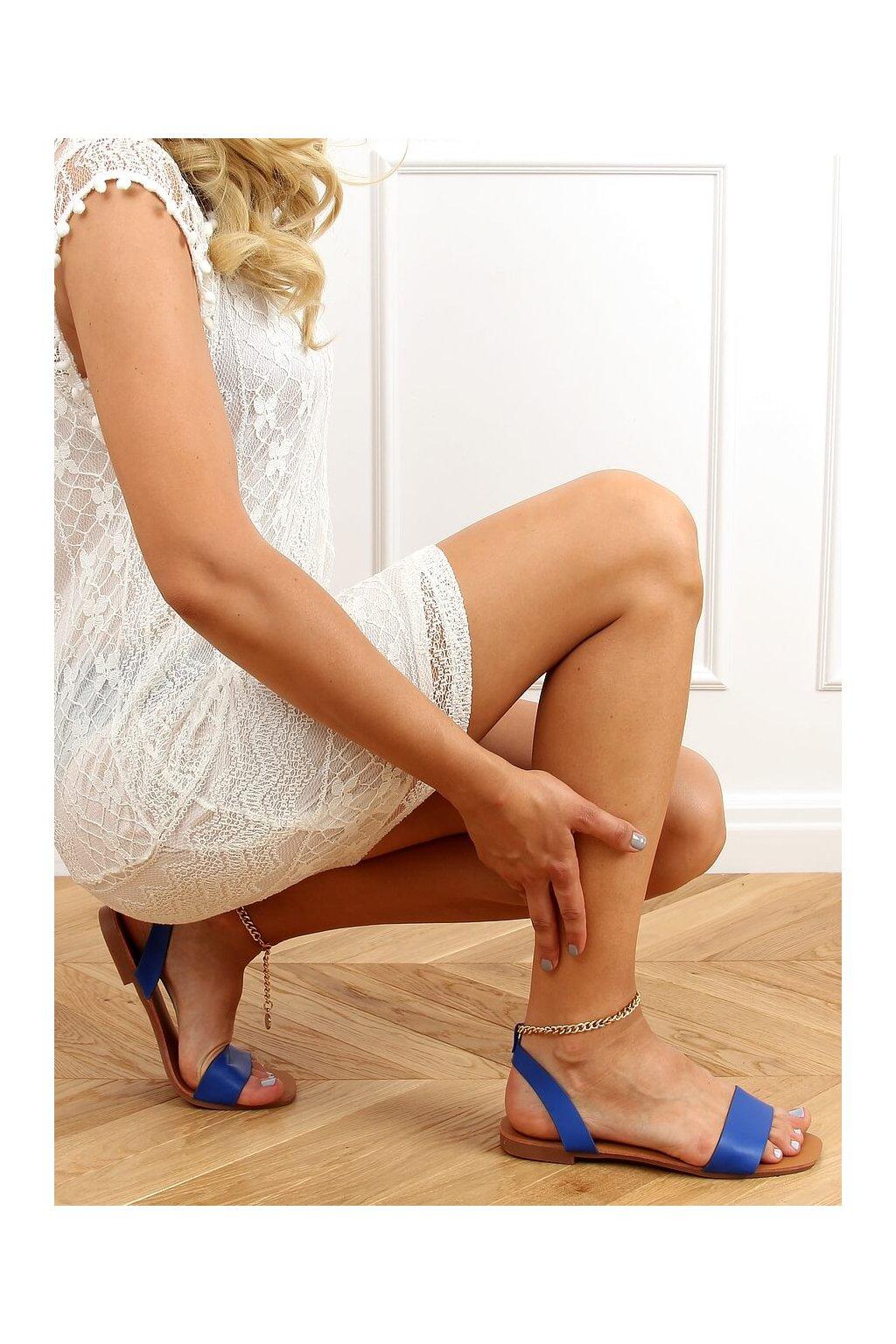 Dámske sandále modré na plochom podpätku HY23-11