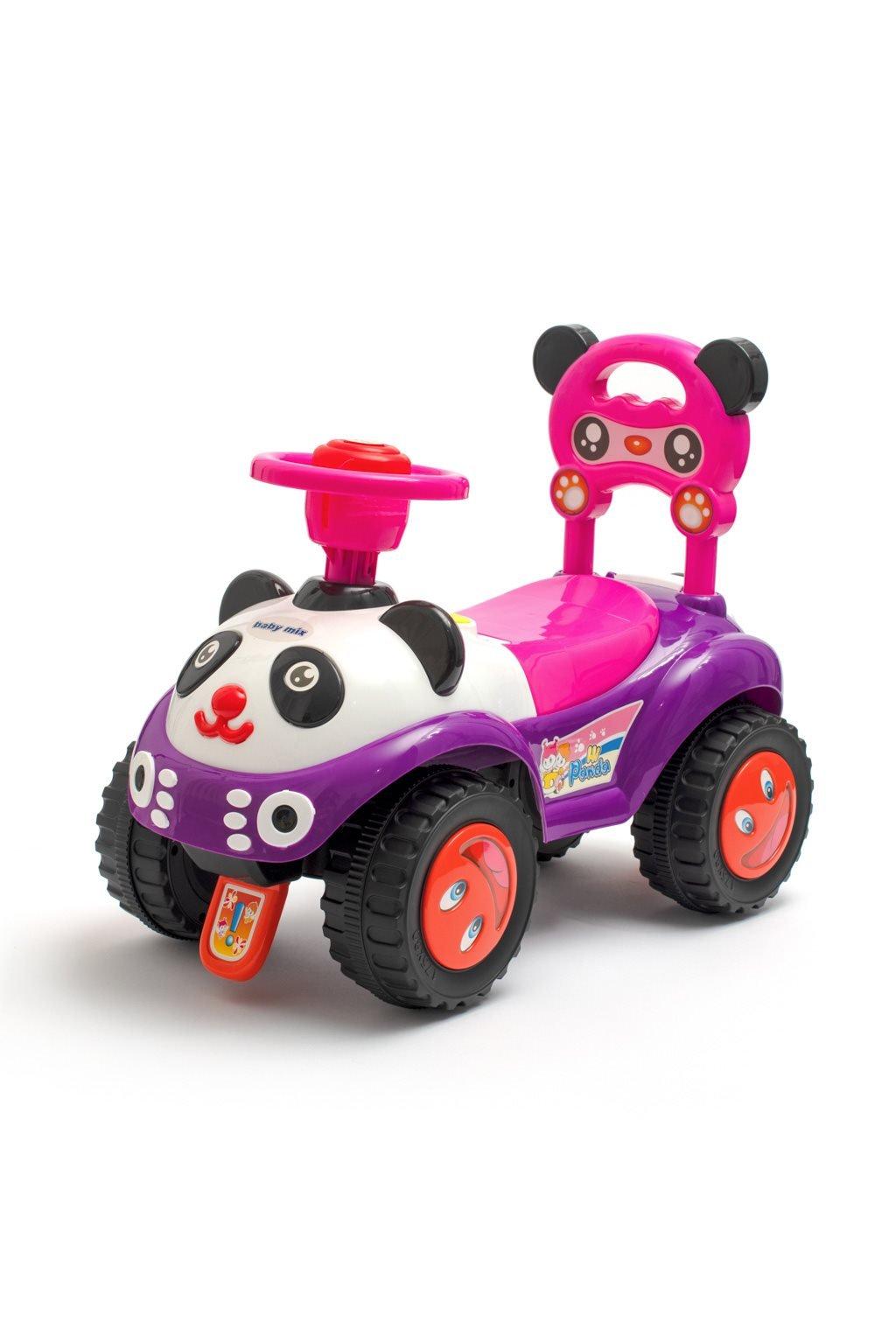 Detské odrážadlo so zvukom Baby Mix Panda ružové