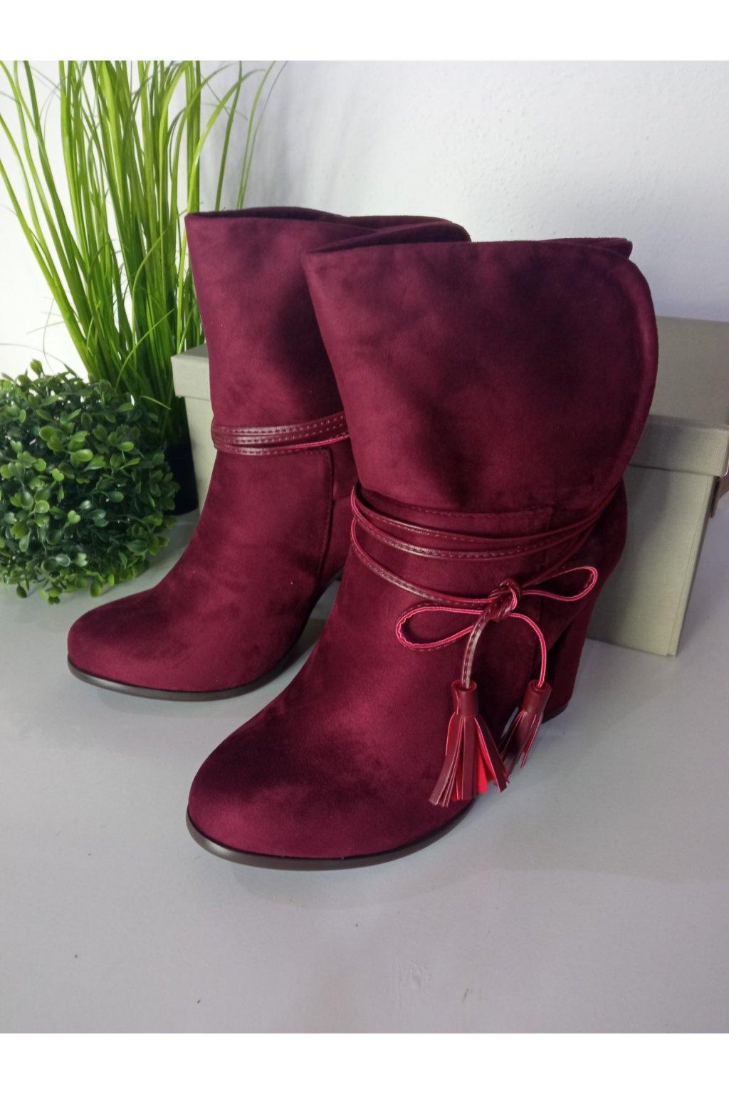 Červené topánky na vysokom opätku NJSK 1100-42WI