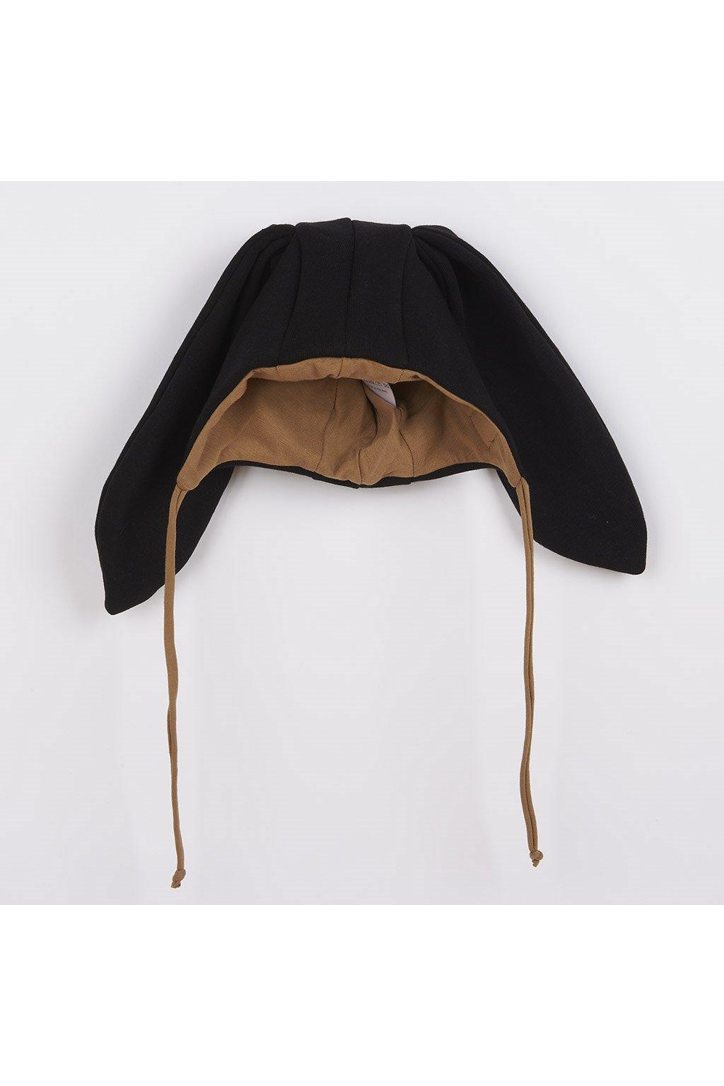 Dojčenská bavlnená čiapka s uškami New Baby Favorite čierna