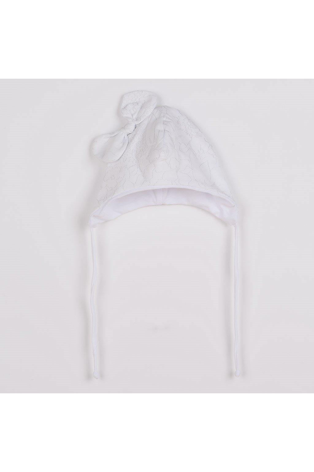 Dojčenská bavlnená čiapka s mašličkou New Baby NUNU biela