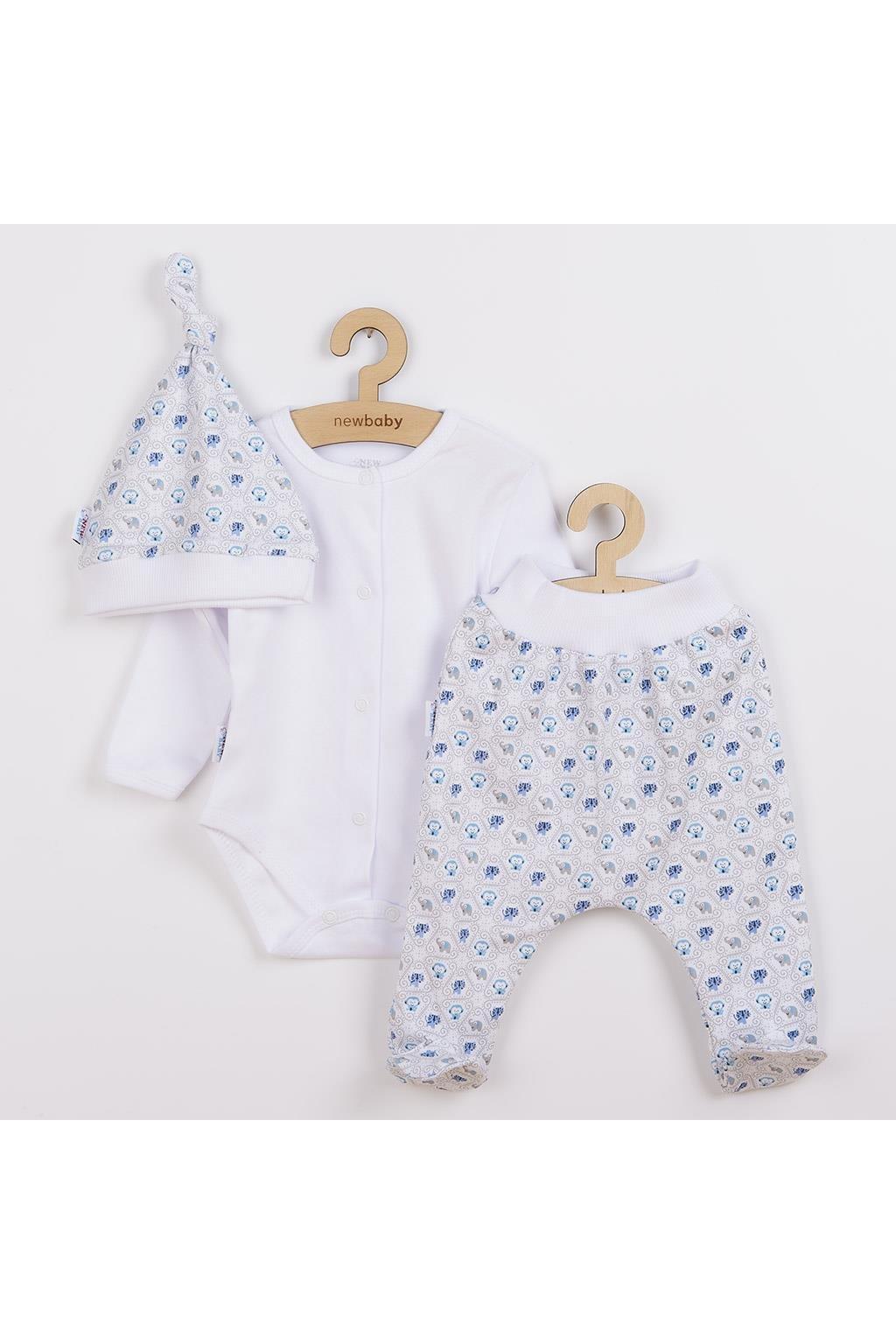 3-dielna bavlnená dojčenská súprava New Baby Kiddy bielo-modrá