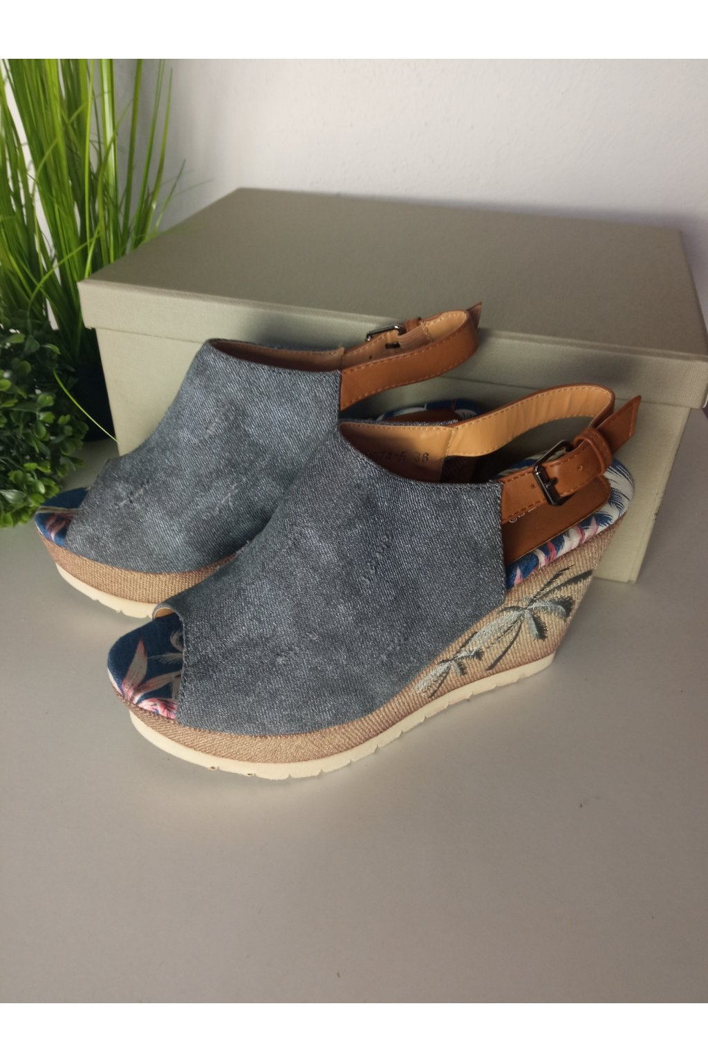 Sivé sandále NJSK 2074-5G