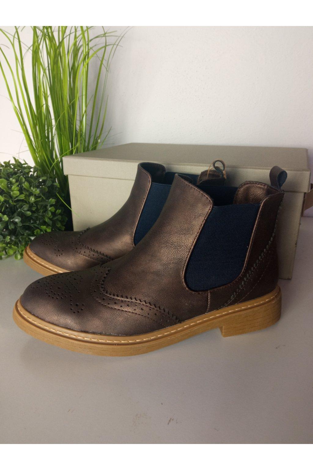 Členkové hnedé topánky NJSK K1619004MARRON