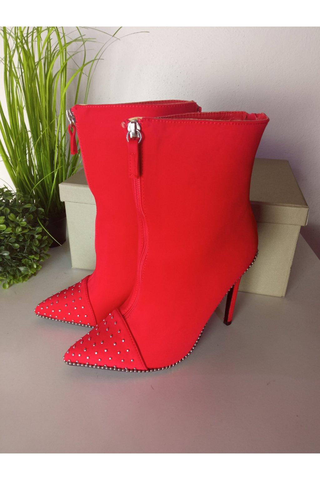 Červené topánky na vysokom opätku NJSK TS020