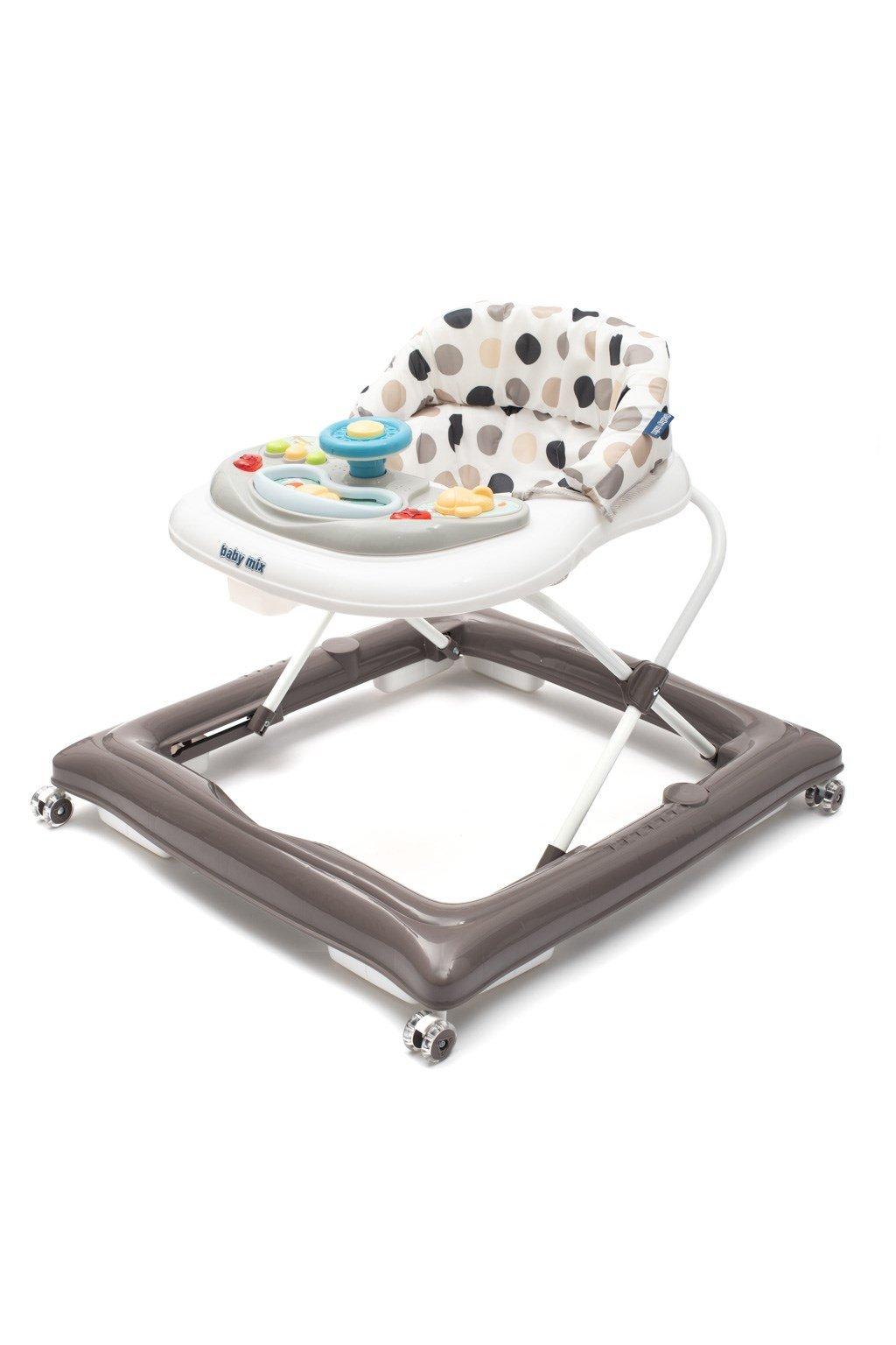 Detské chodítko Baby Mix s volantom a silikónovými kolieskami sivo-biele