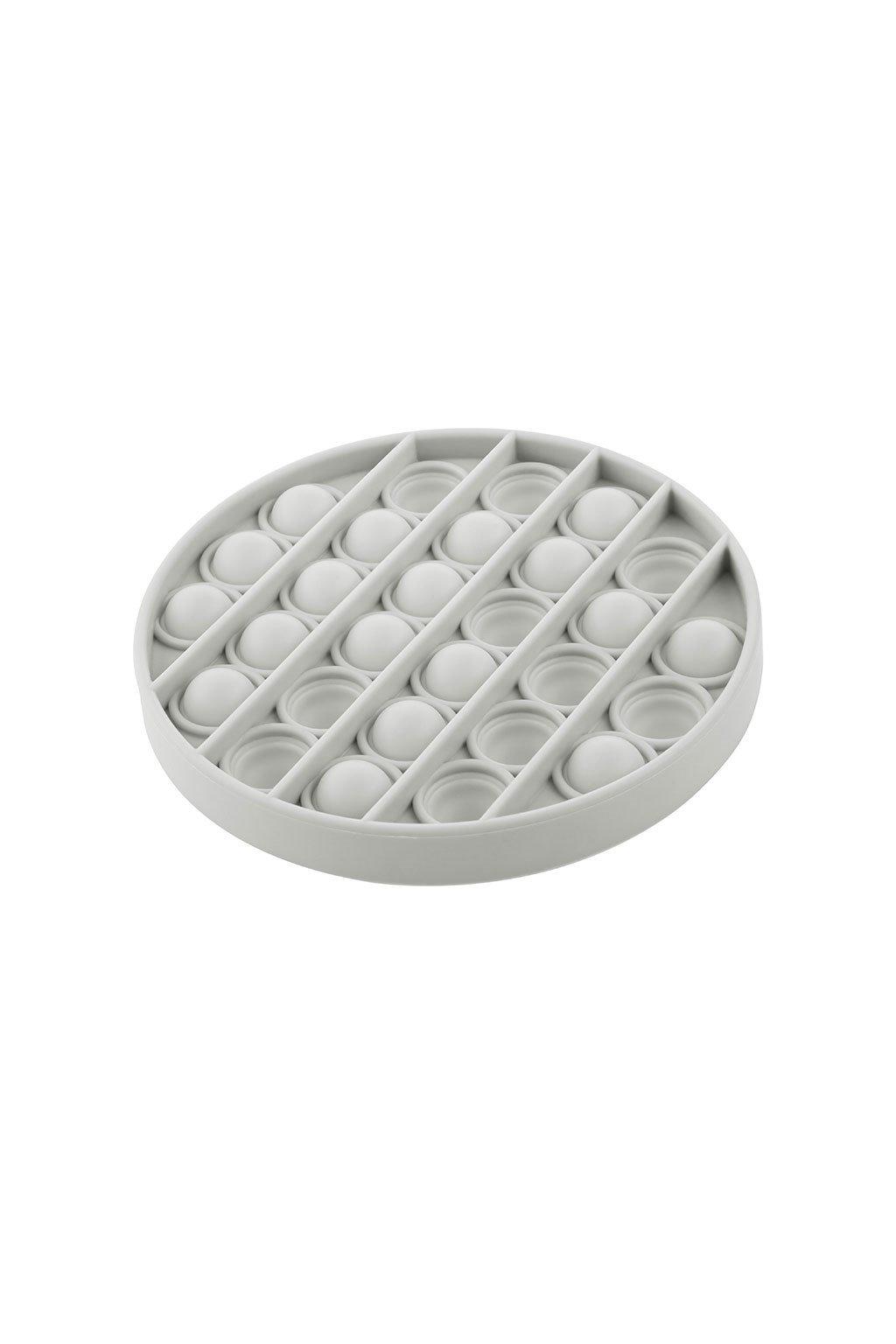 Senzorická hračka Praskacie bubliny Push Pop Akuku kruh sivý