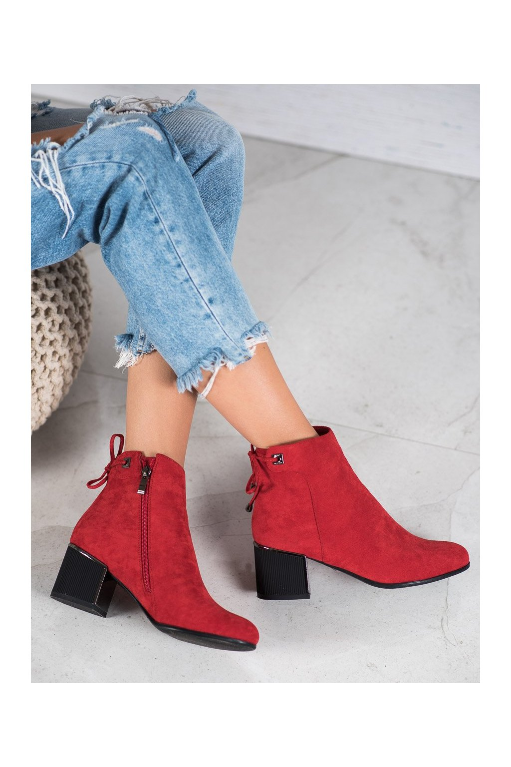 Červené dámske topánky Goodin kod GD-FL2005R