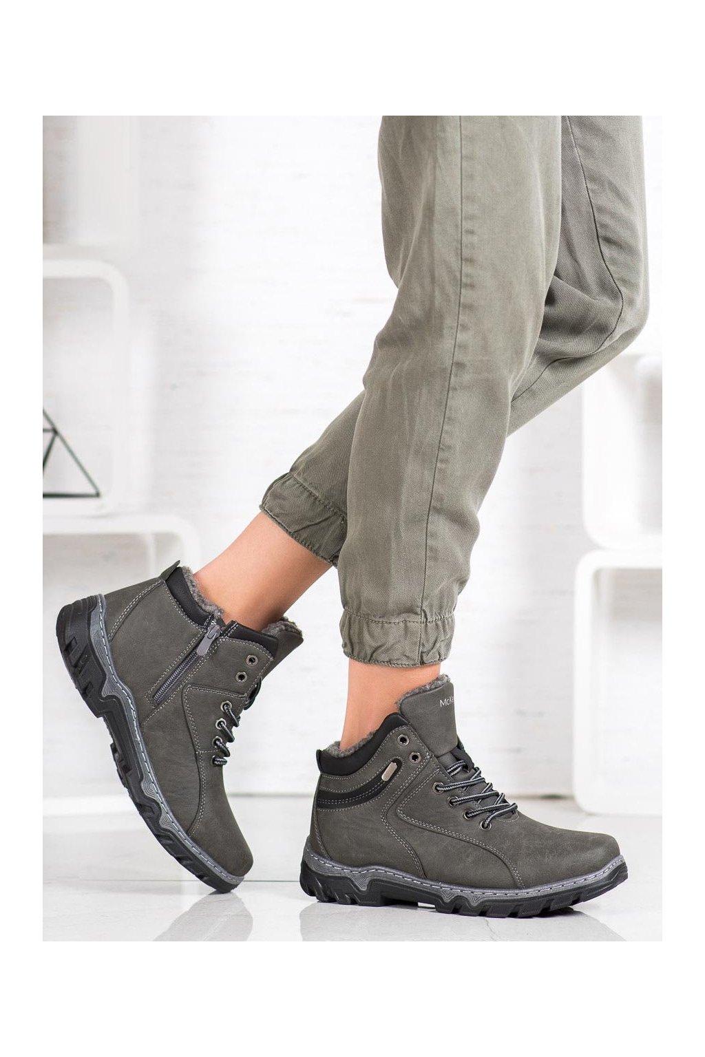 Sivé dámske trekové topánky Mckeylor kod OCA20-2156G
