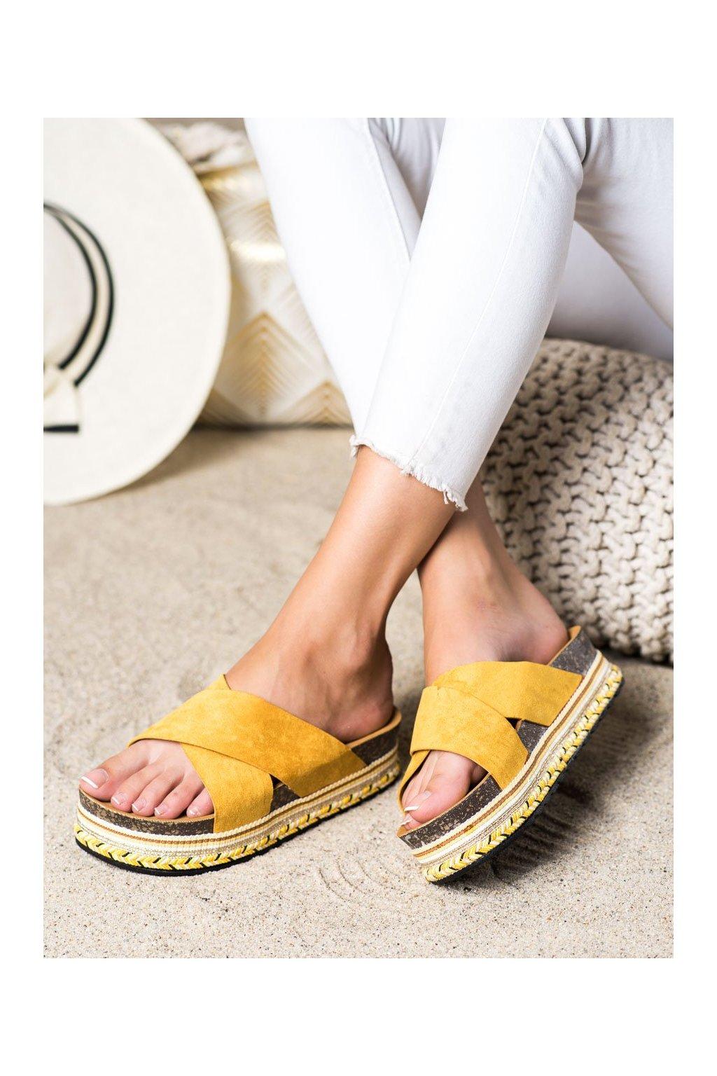 Žlté dámske šľapky Shelovet kod LS016Y