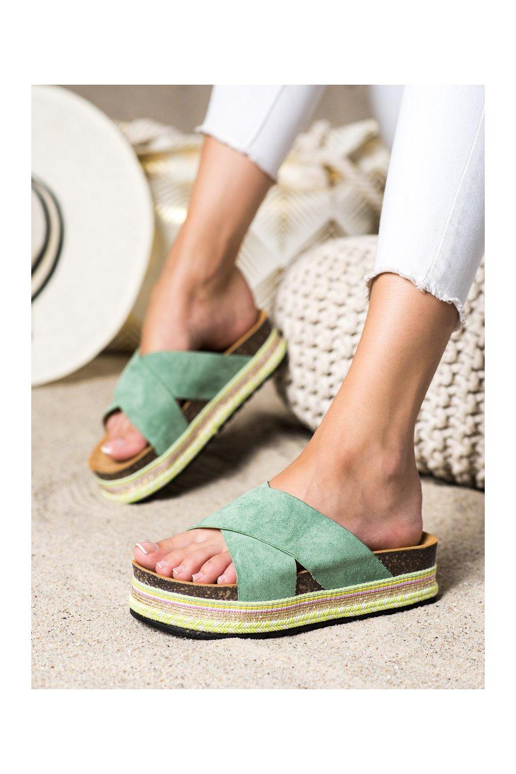 Zelené dámske šľapky Shelovet kod LS016GR