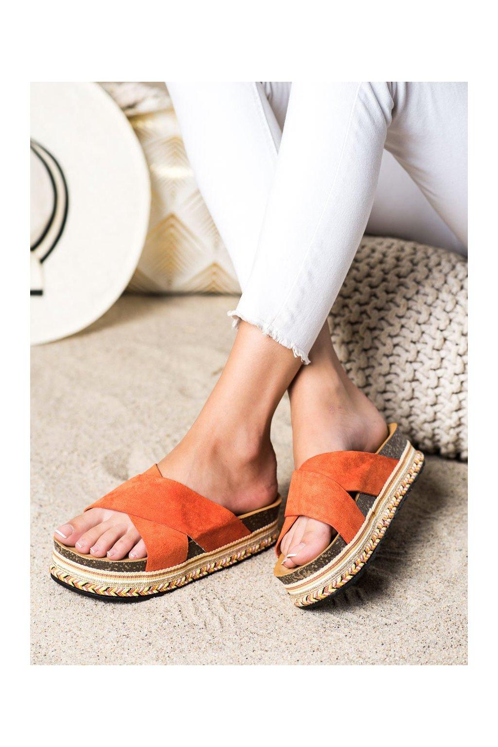 Oranžové dámske šľapky Shelovet kod LS016OR