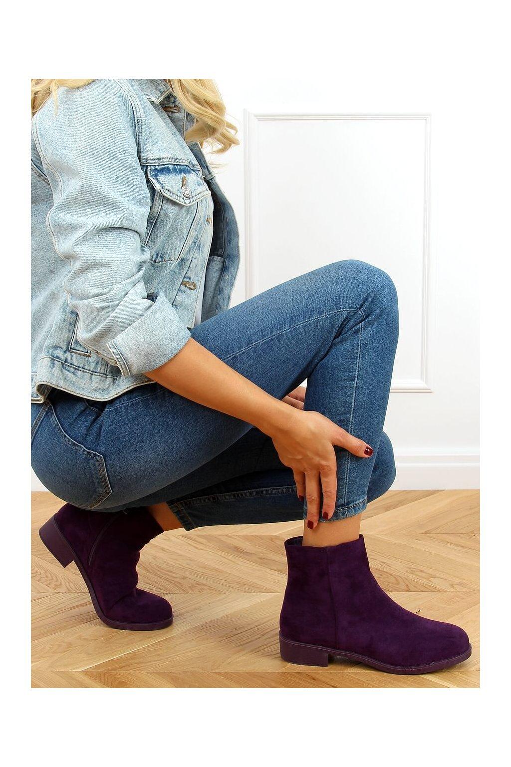Dámske členkové topánky fialové na plochom podpätku 6215