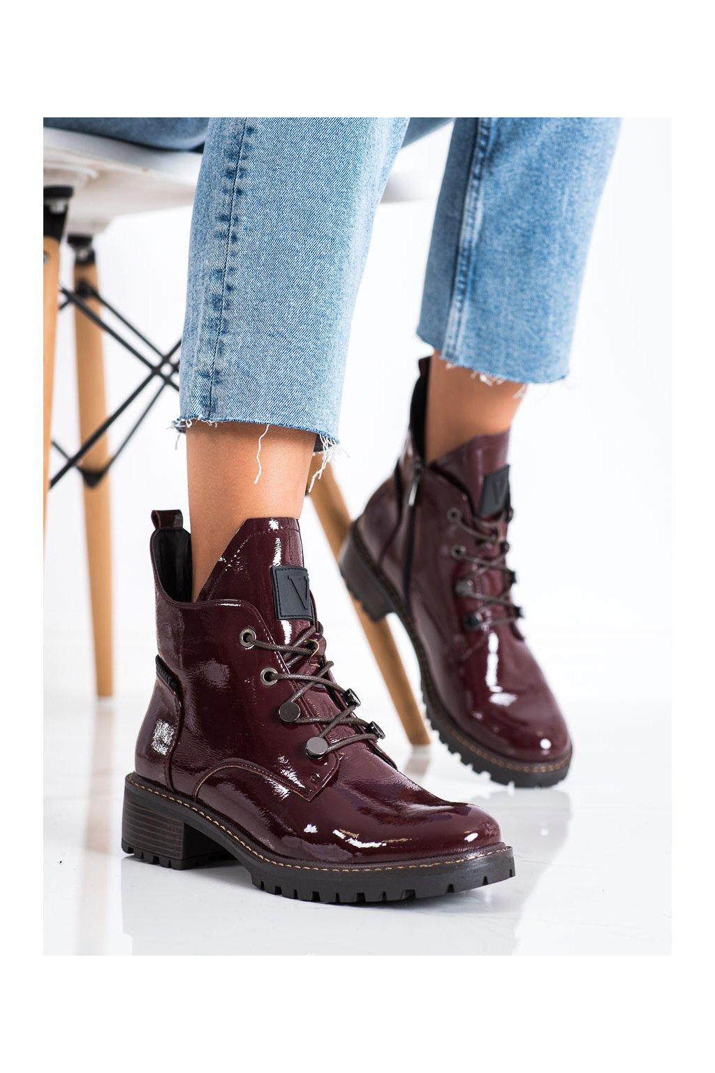 Červené dámske topánky Vinceza kod XY22-10661R
