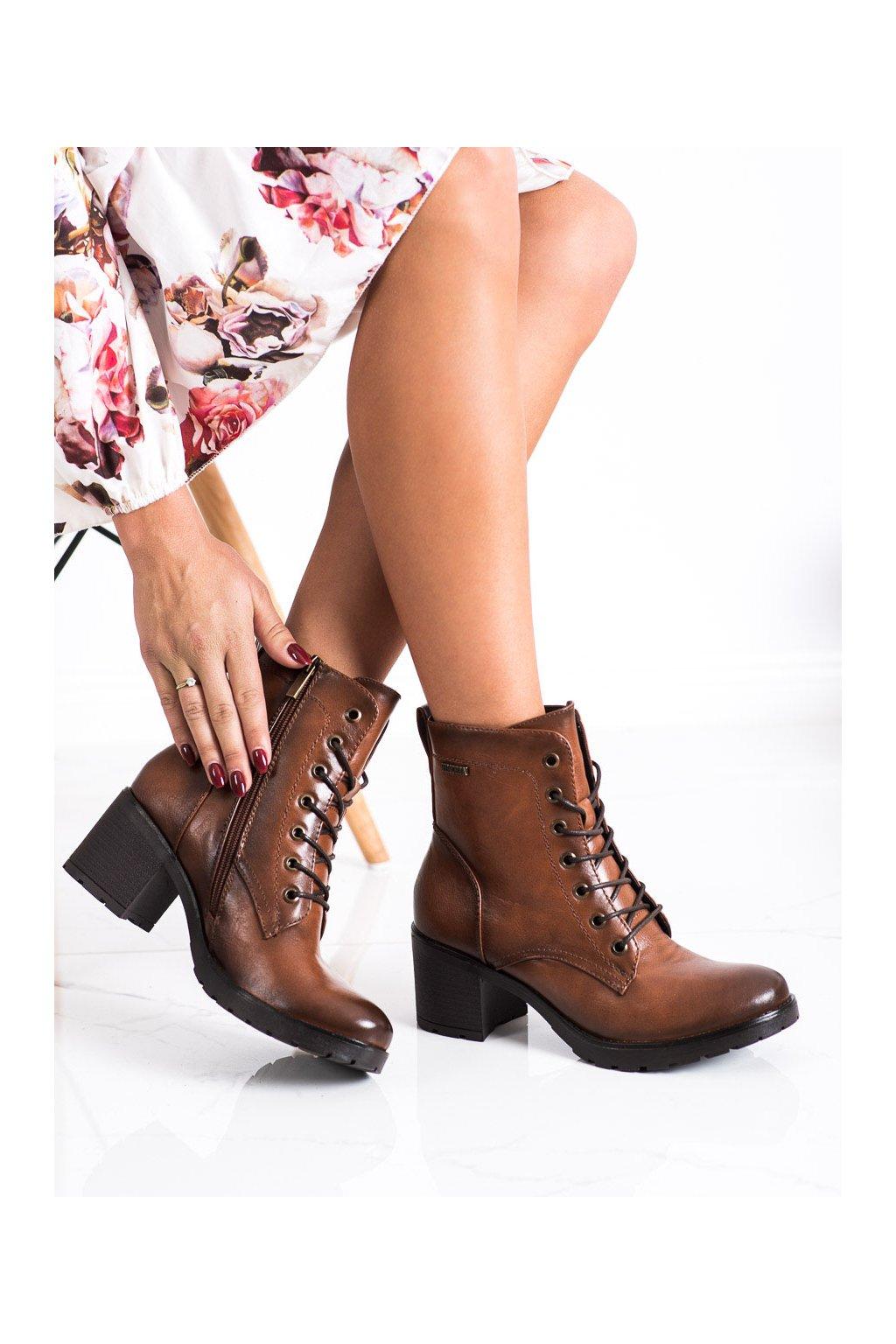 Hnedé dámske topánky Vinceza kod XY22-10643C