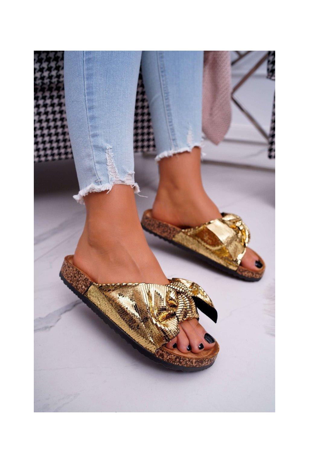 Dámske šľapky farba žltá kód obuvi CK111 GOLD