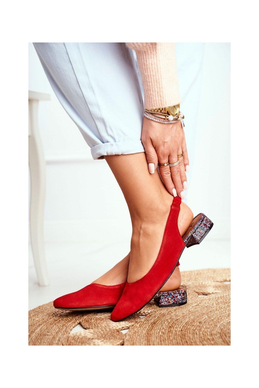 Dámske lodičky farba červená kód obuvi 04482-08 RED