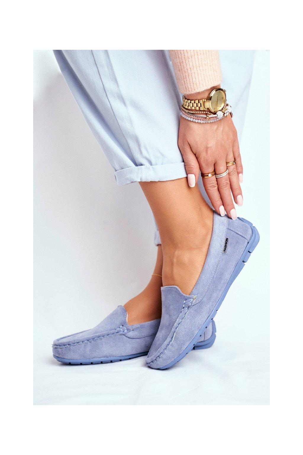 Dámske mokasíny farba modrá kód obuvi 20PB26-2190 BLUE