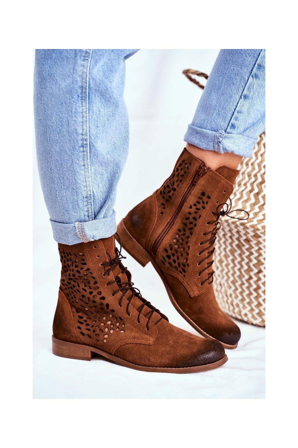 Členkové topánky na podpätku farba hnedá kód obuvi 2565 CAMEL 027