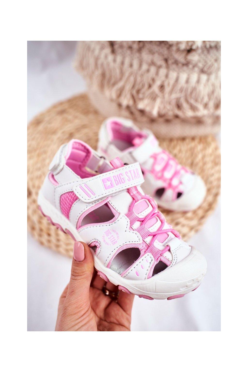 Detské sandále farba biela kód obuvi FF374207 WHI PINK