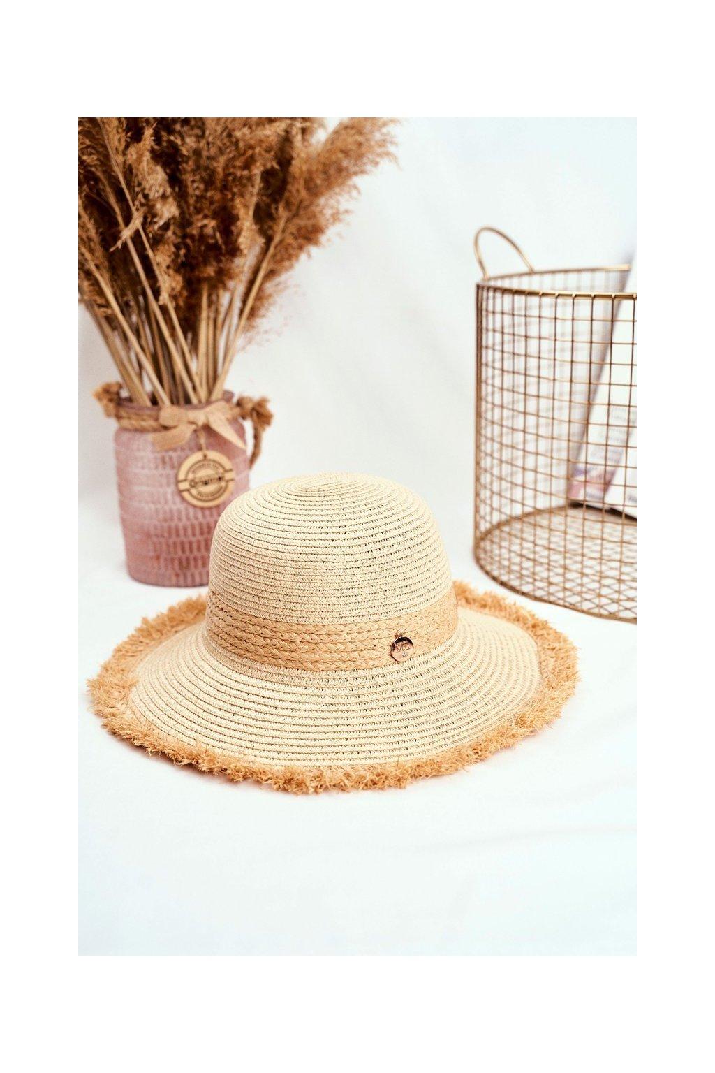 Hnedý dámsky klobúk k moru kód KAP-282 BEIGE