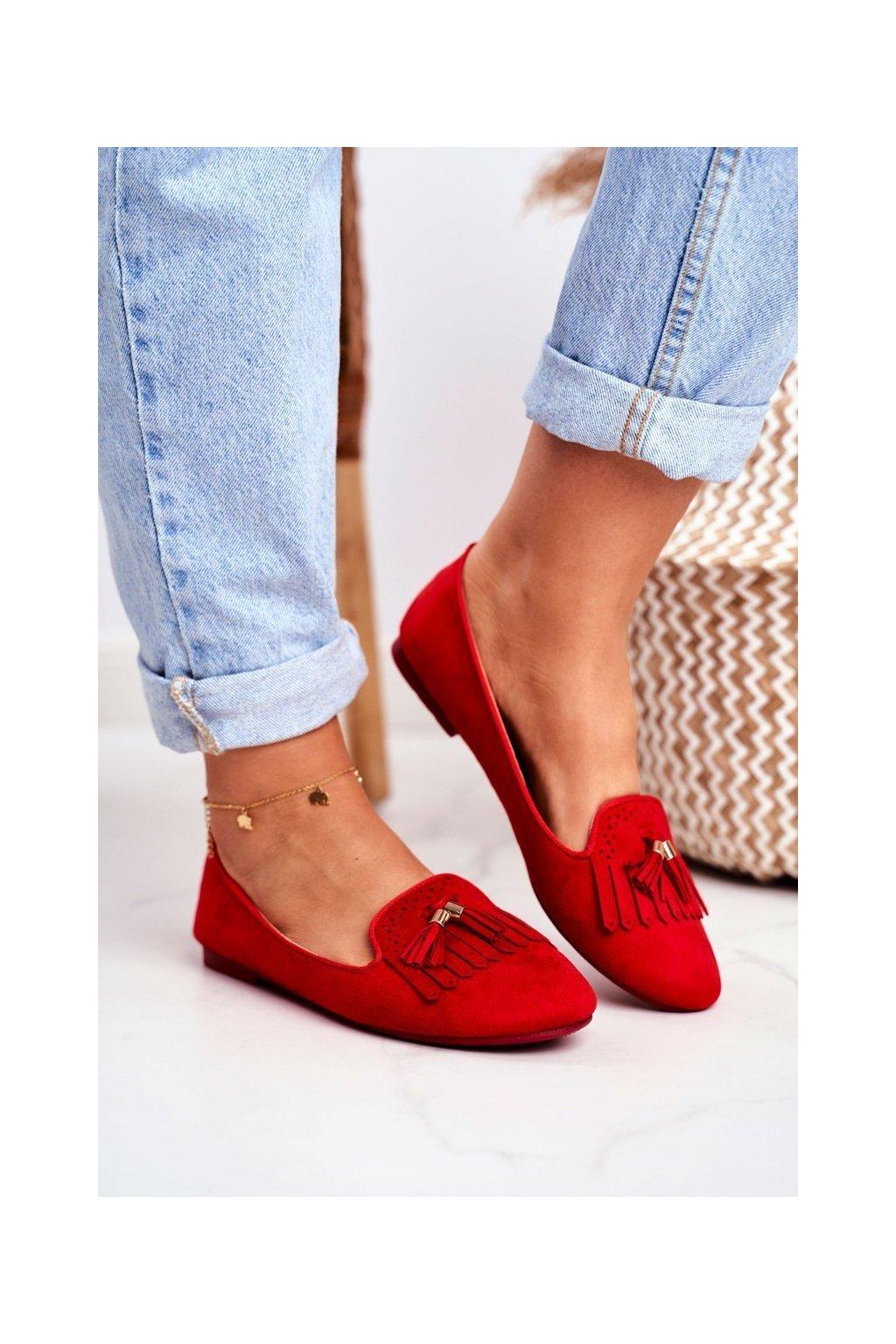 Dámske mokasíny farba červená kód obuvi FM051 RED