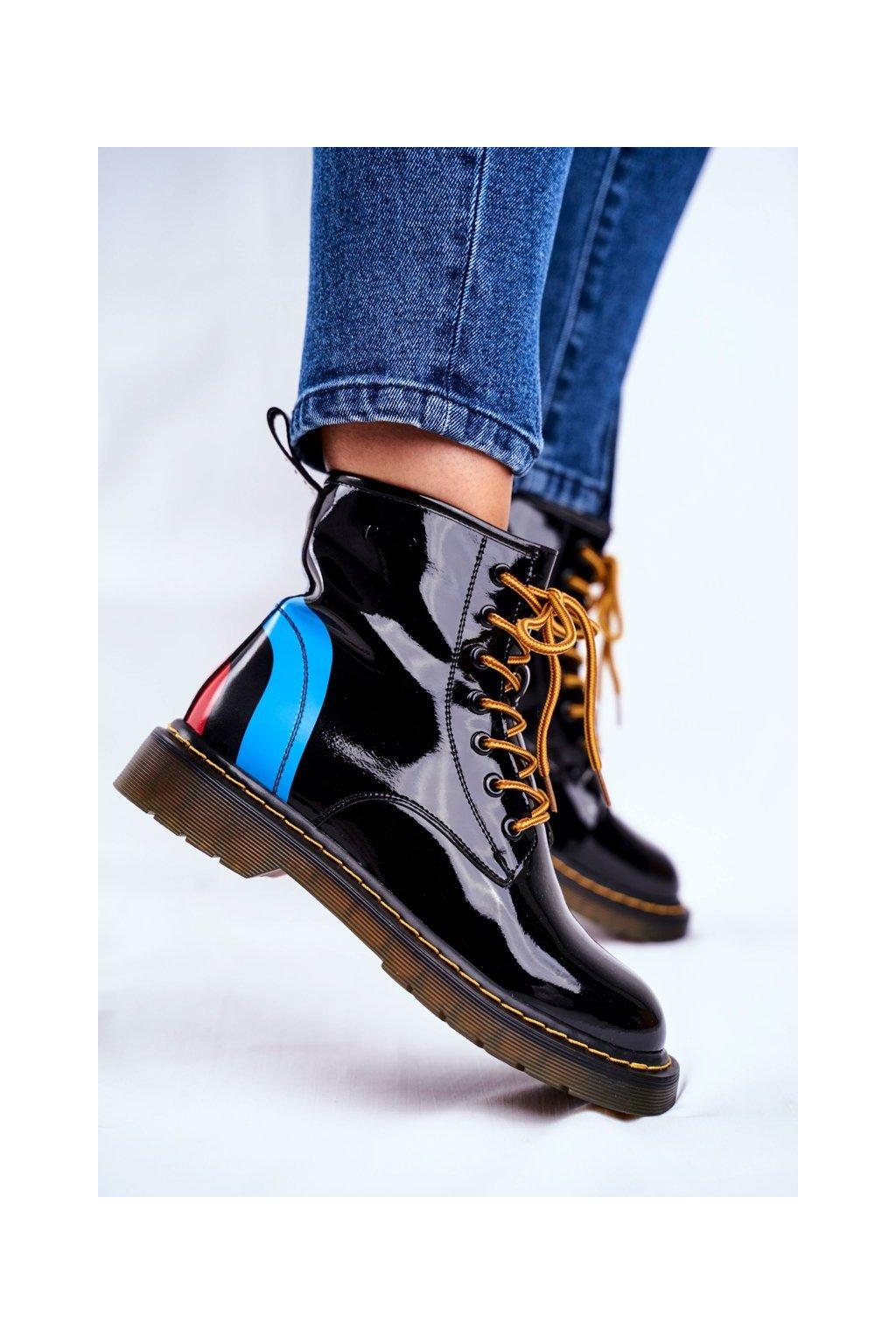 Členkové topánky na podpätku farba čierna kód obuvi GG2N3056 BLK