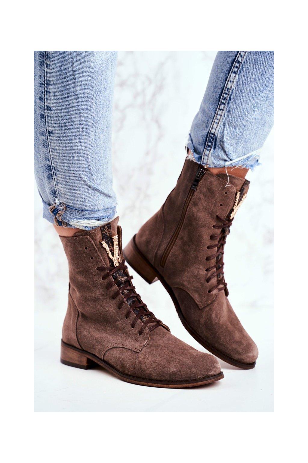 Členkové topánky na podpätku farba hnedá kód obuvi 2593 032 CAPPUCCINO