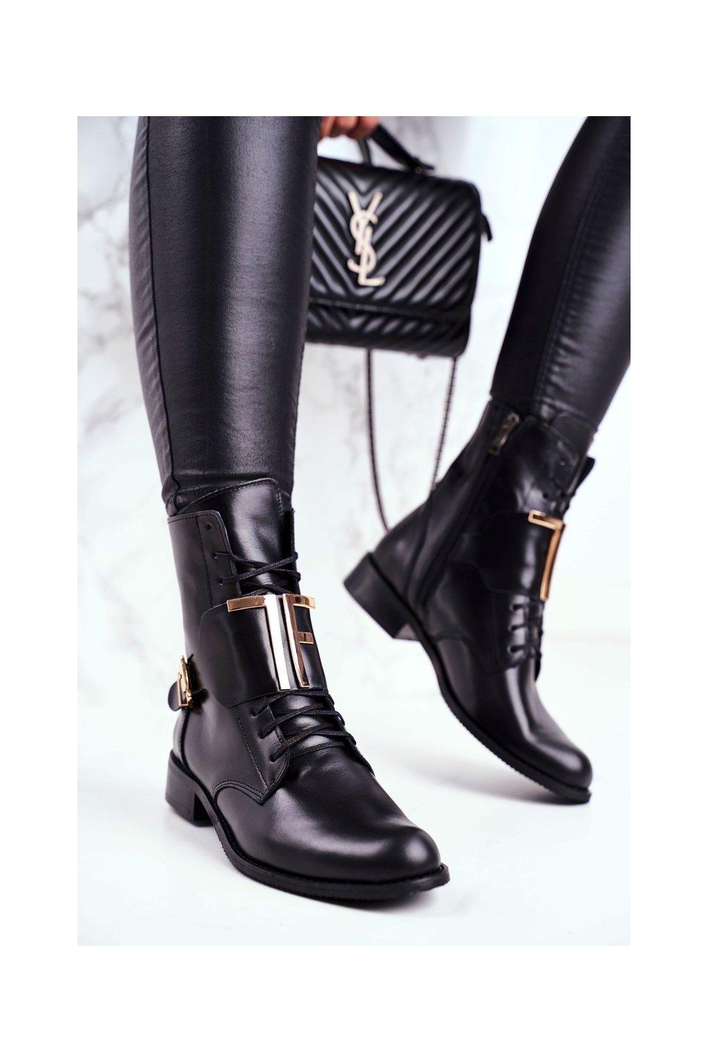 Členkové topánky na podpätku farba čierna kód obuvi 2591 001 BLK