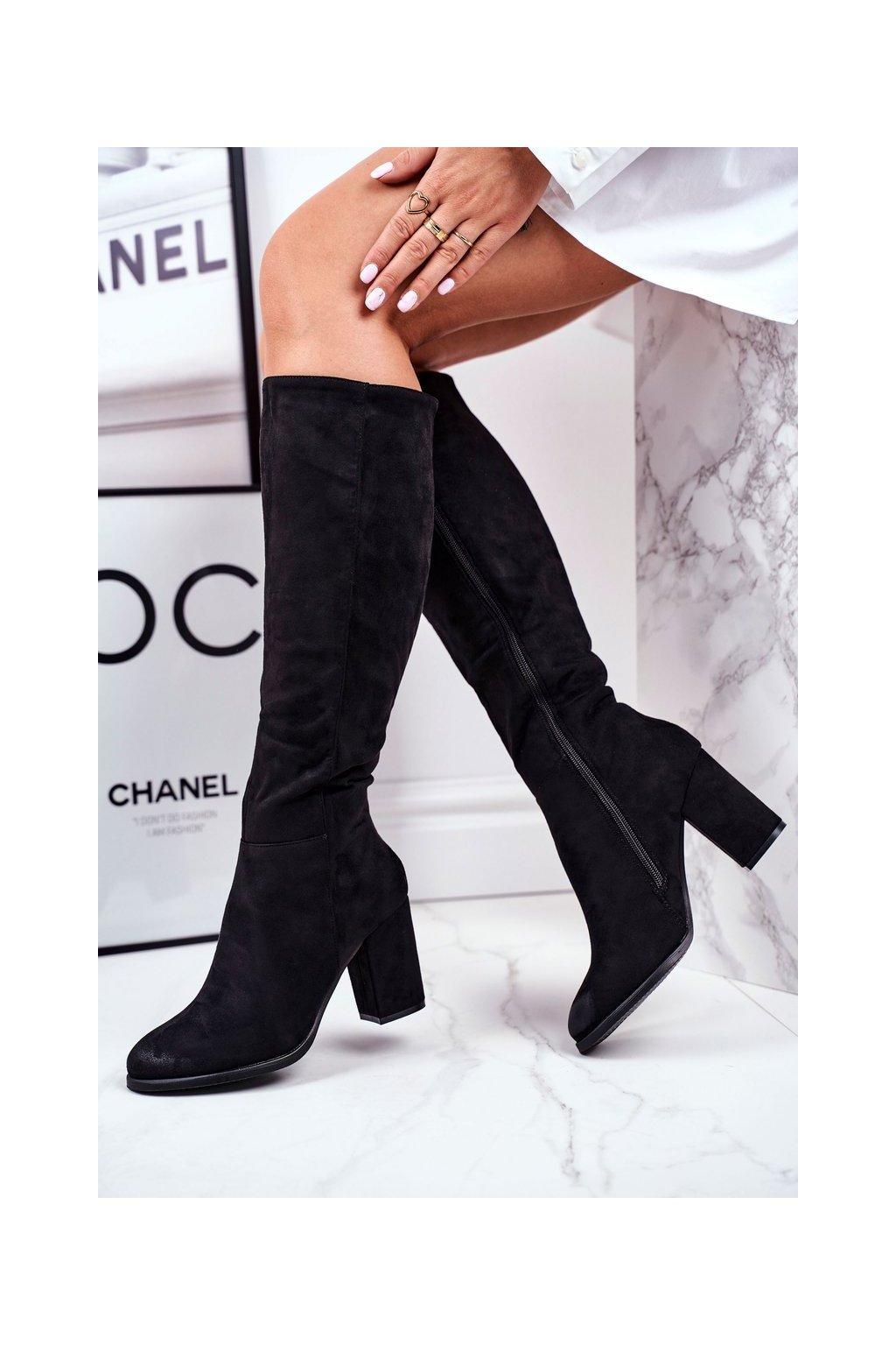 Dámske čižmy farba čierna kód obuvi 73-10 BLK