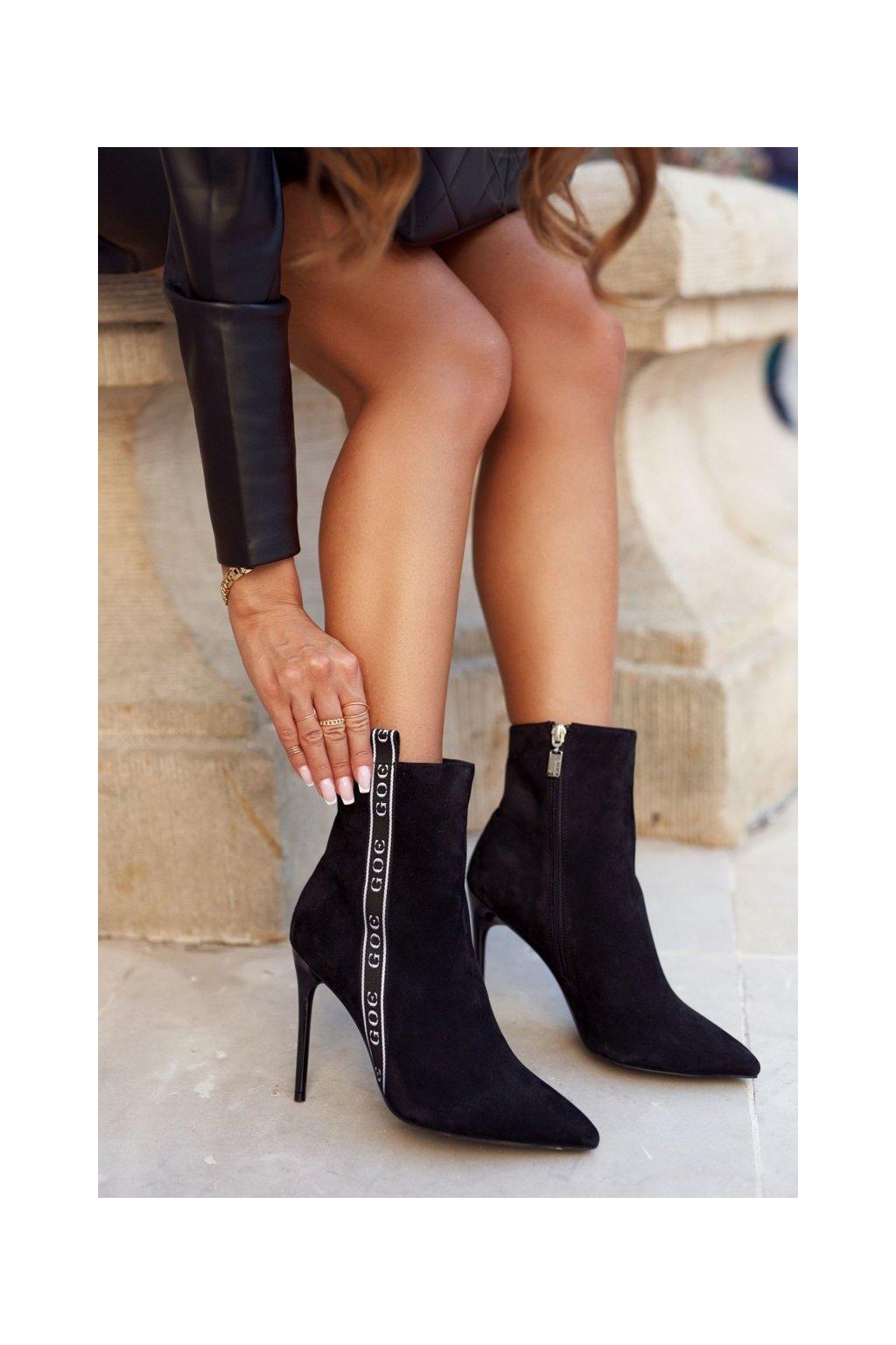 Členkové topánky na podpätku farba čierna kód obuvi GG2N3005 BLK