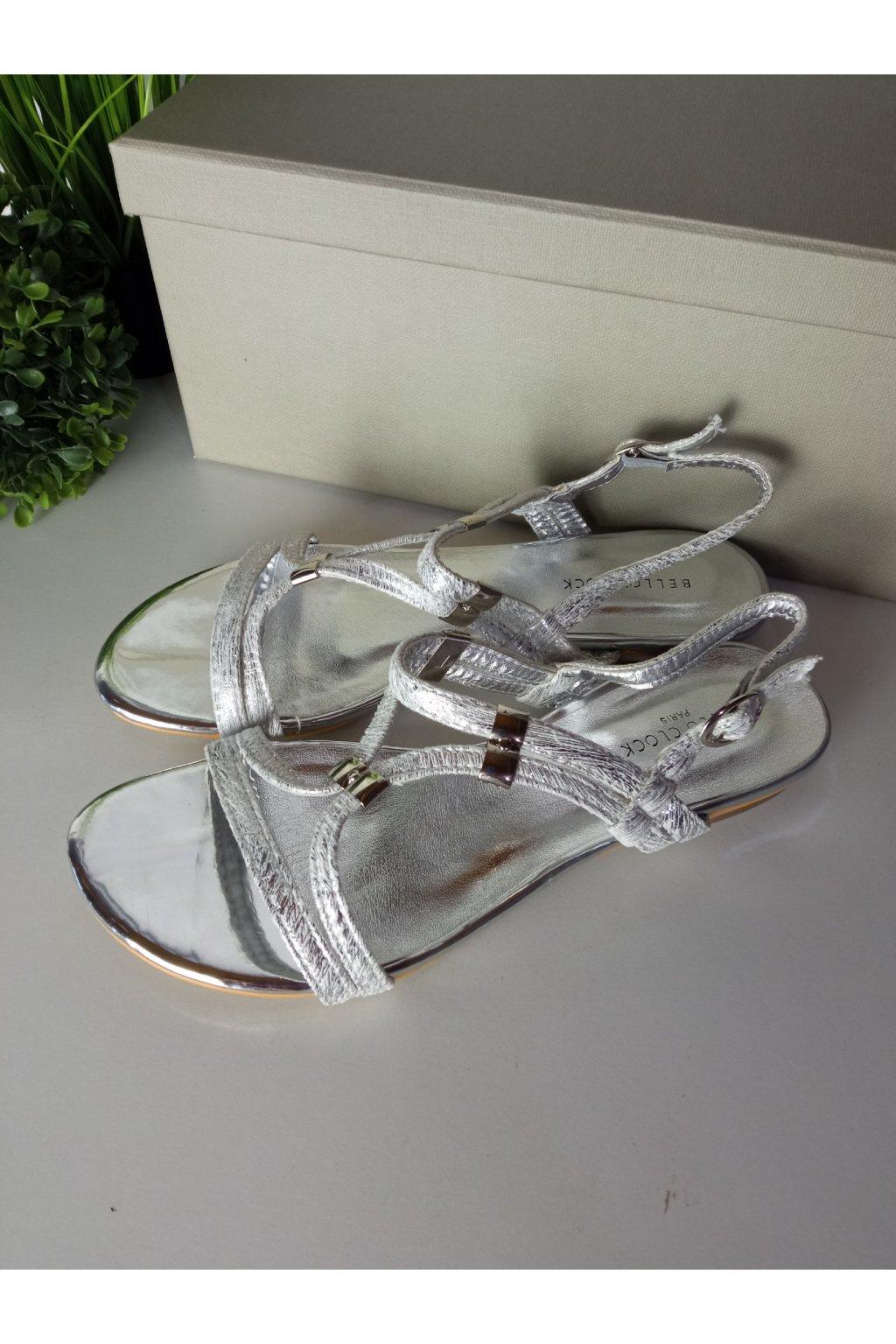 Elegantné strieborné sandále NJSK 1626S