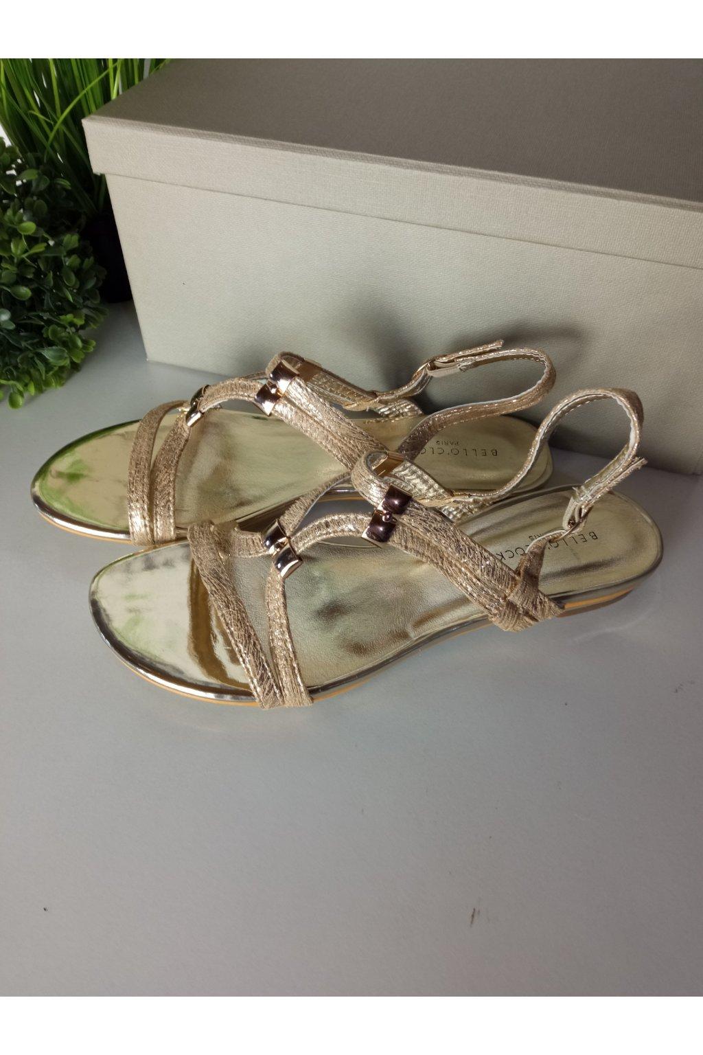 Elegantné zlaté sandále NJSK 1626GO