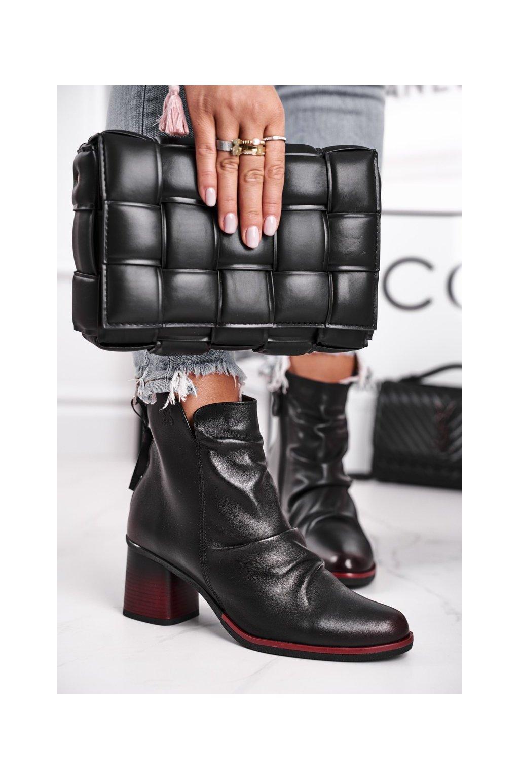 Členkové topánky na podpätku farba čierna kód obuvi 04757-01/00-5 BLK