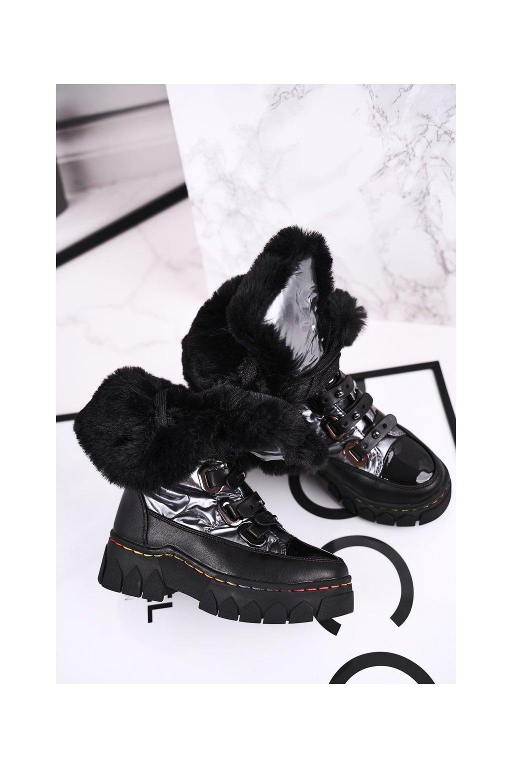 Detské členkové topánky farba čierna kód obuvi DD51 GOLD