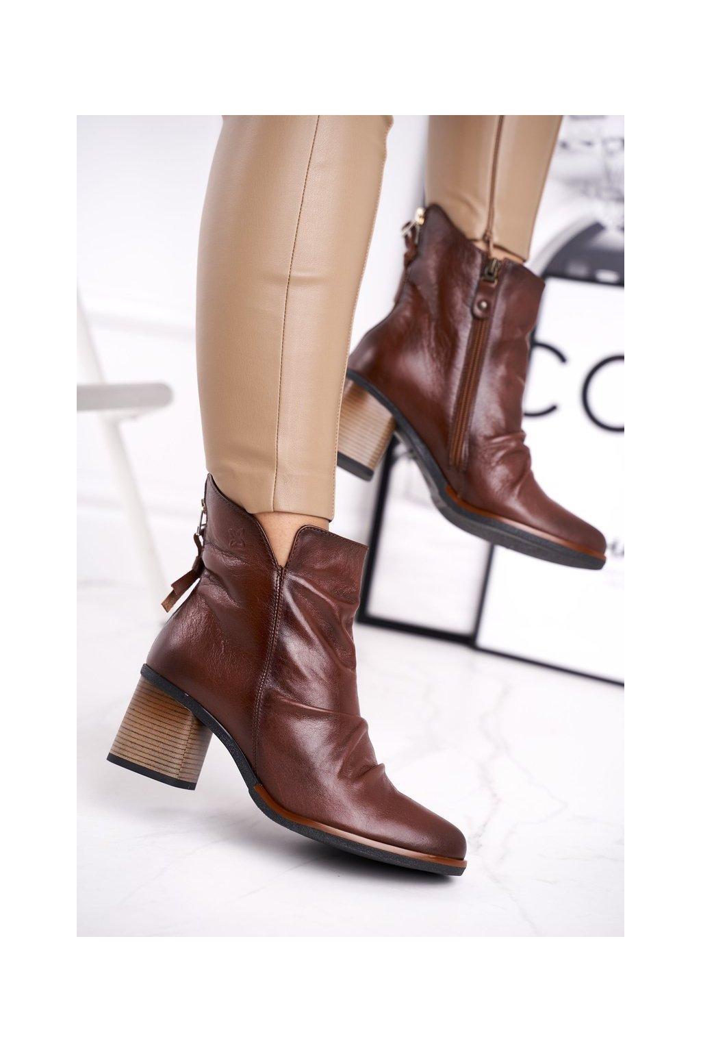 Členkové topánky na podpätku farba hnedá kód obuvi 04757-02/00-3 BROWN