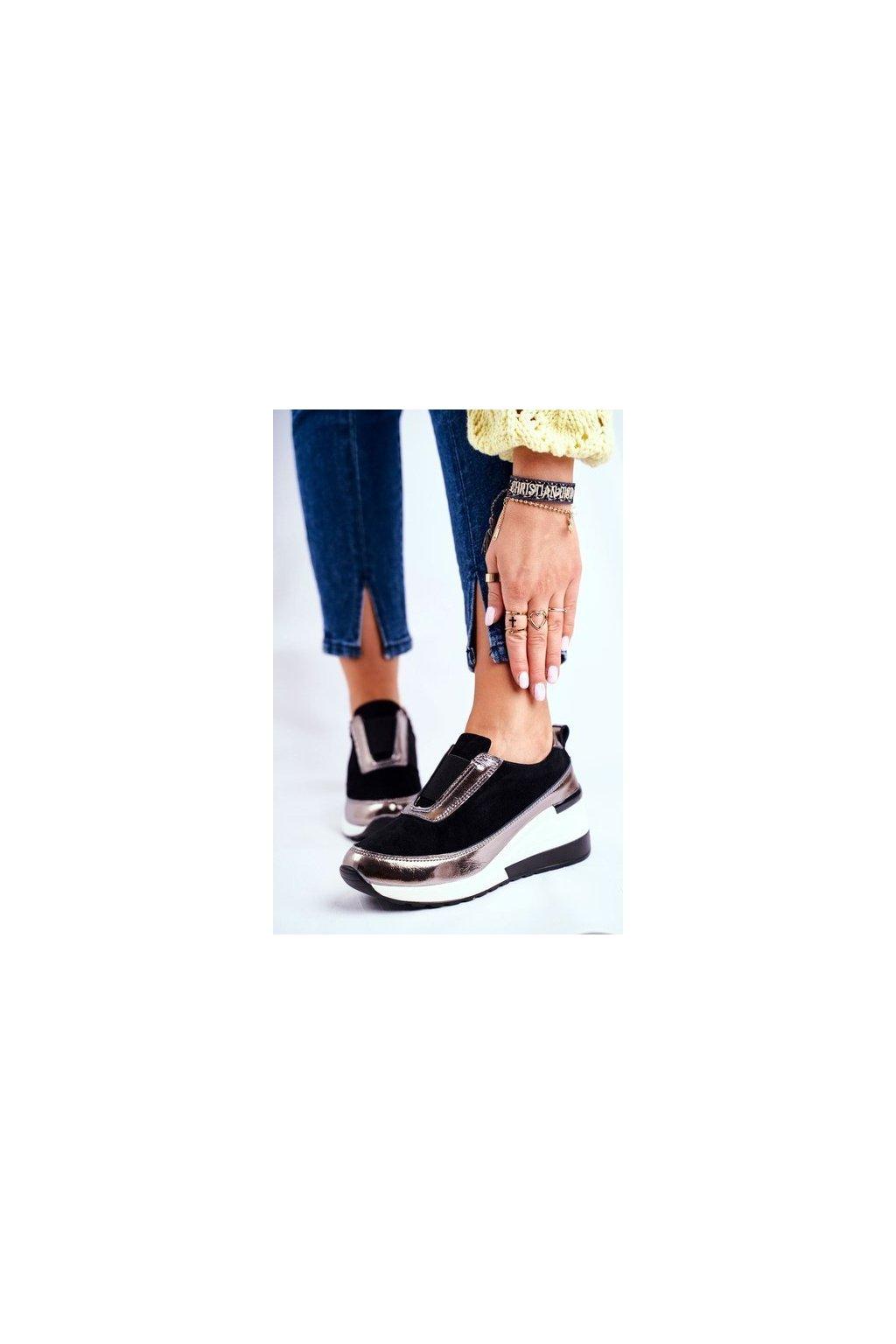 Dámske tenisky farba čierna kód obuvi 94495 BLK/WHI