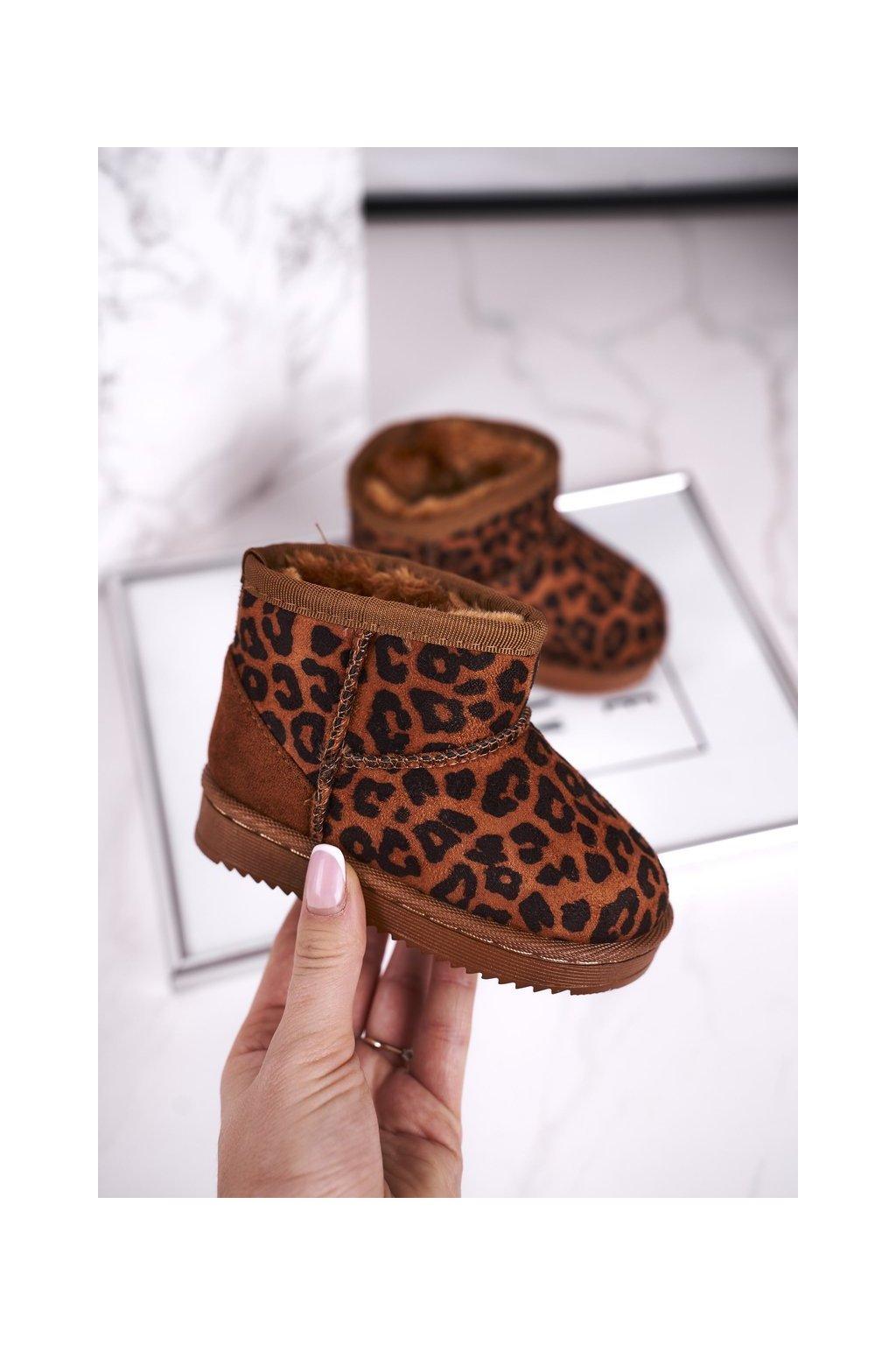 Detské členkové topánky farba hnedá kód obuvi 20213-E LEOPARD