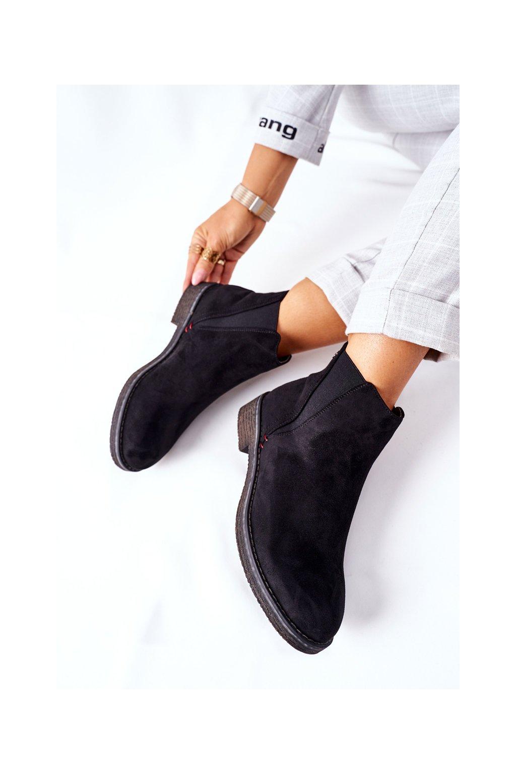Členkové topánky na podpätku farba čierna kód obuvi 314-PA BLK