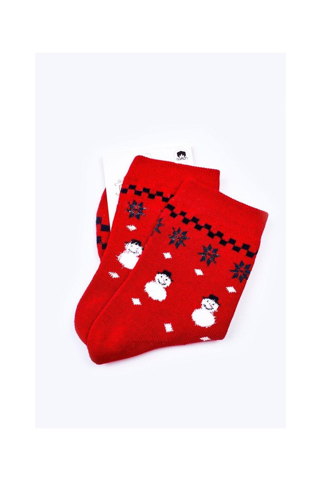 Pánske ponožky farba červená kód WJYC-94060 SNOWMAN
