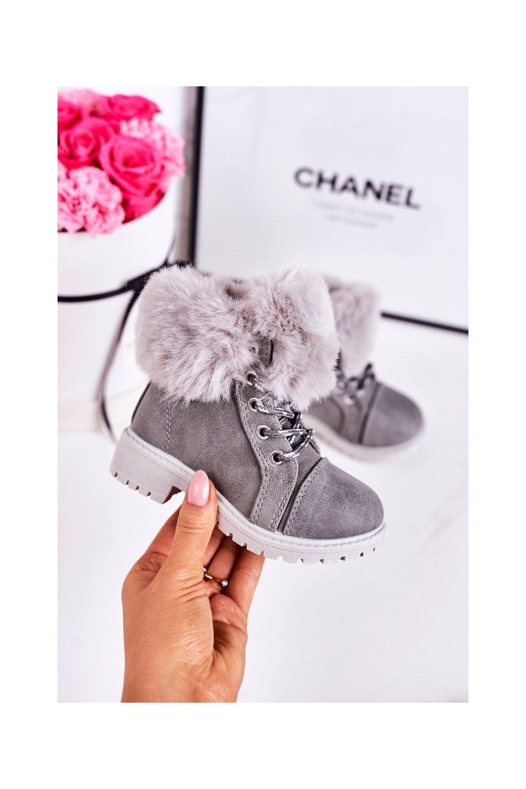 Detské členkové topánky farba sivá kód obuvi TL40K-5 GREY