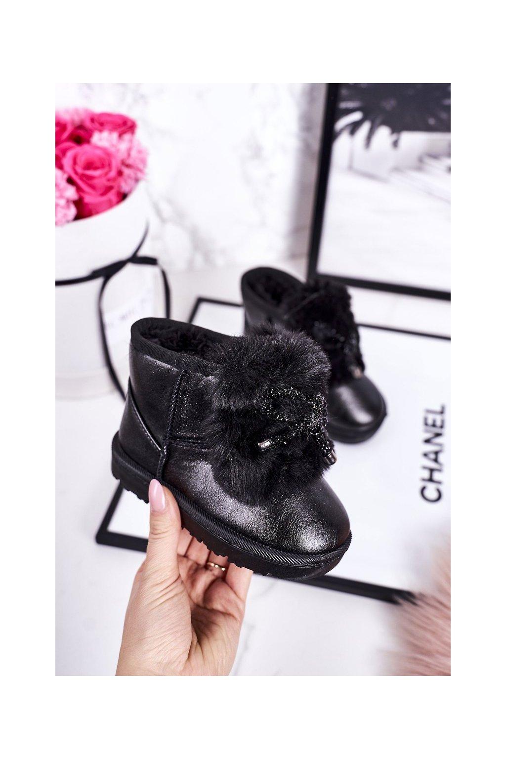 Detské snehule farba čierna kód obuvi 20228-1A/2A BLACK