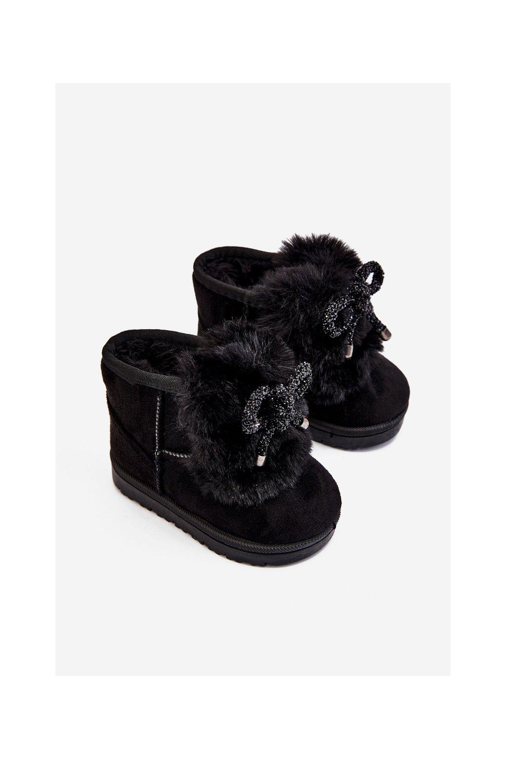 Detské snehule farba čierna kód obuvi 602-1A BLACK